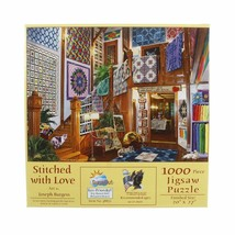 SunsOut STITCHED WITH LOVE 1000 pc Jigsaw Puzzle Joseph Burgess Quilts Cats - $28.30