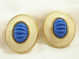 MONET Royal BLUE Cab Cream Enamel Large OVAL Clip Earrings Gold Plate Vi... - $18.80