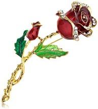 Alilang Womens Belle Red Rose Flower Enamel Crystal Rhinestone Brooch Pi... - $26.80