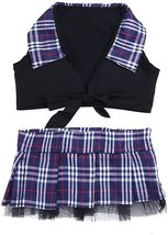 dPois Womens School Girl Cosplay Fancy Dress Costume Crop Top with Plaid Mini Sk image 6
