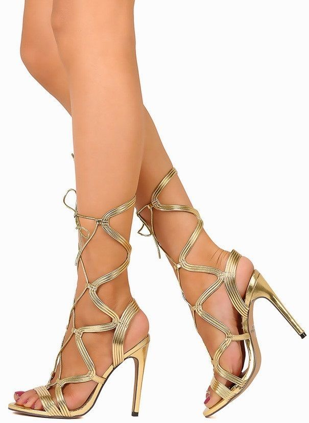 cad74384665a Exotic Wear Metallic Lace Up Stiletto High Heels Open Toe Gladiator Sandals  H181