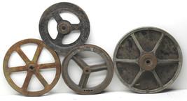 4 Antique Industrial Heavy Machine Pulley Wheel Cast Iron Metal Spoke St... - $59.83
