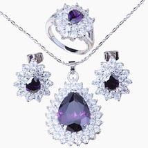 High Quality !Superb Zircon Silver Colour Earrings Ring Necklace Pendant... - $29.50