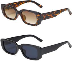 Vanlinker Polarized Rectangle Retro Vintage 90S Sunglasses For Women Rec... - $11.87+