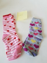 Small Socks With Hearts & Flower Patterns 2-Pairs - $13.43