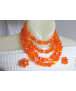 Vintage W Germany Gorgeous ORANGE Lucite Beads 4 Row Bib Necklace Earrin... - $27.00
