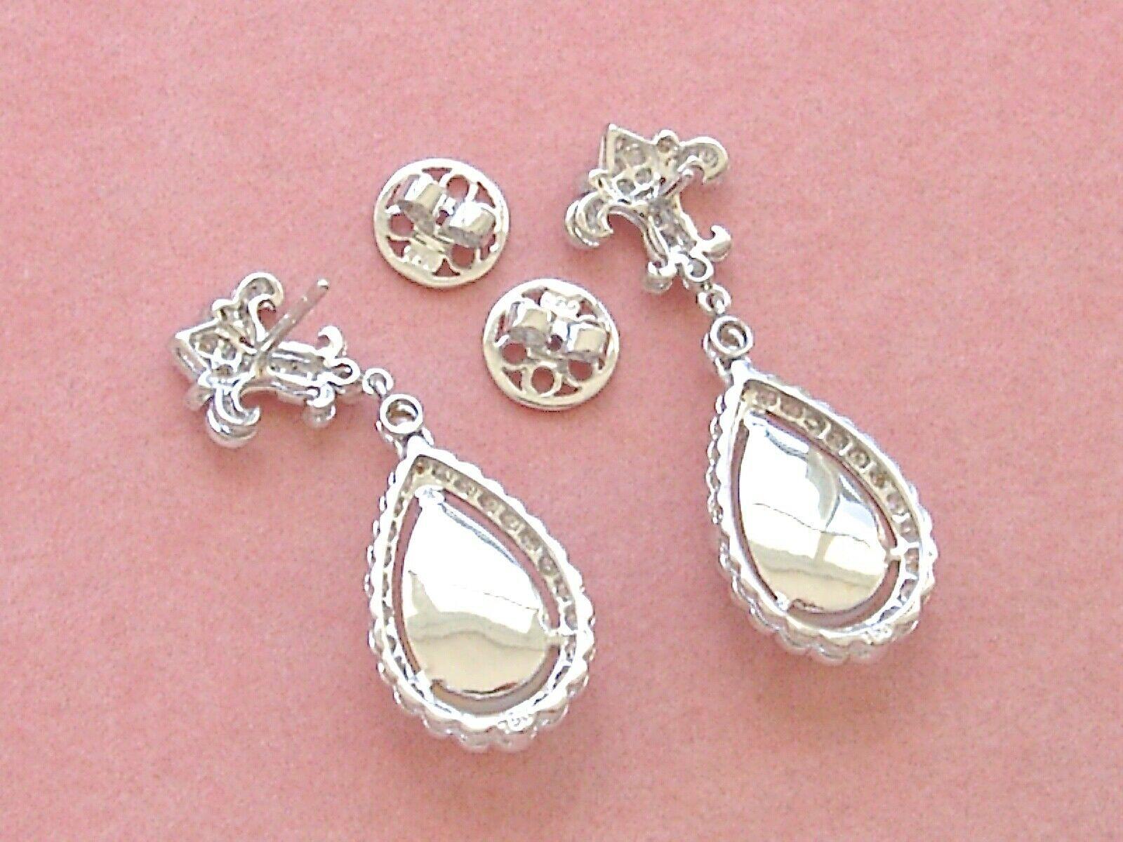 ART DECO 1ctw DIAMOND 3.5ctw OPAL PEAR DROPS FLEUR DE LIS STUD DANGLE EARRINGS