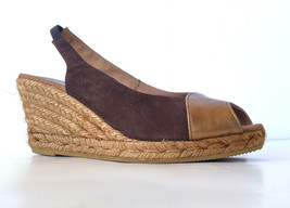 Gaimo Espadrilles Anthropologie Brown and Gold Suede Platform Sandals Si... - $28.78
