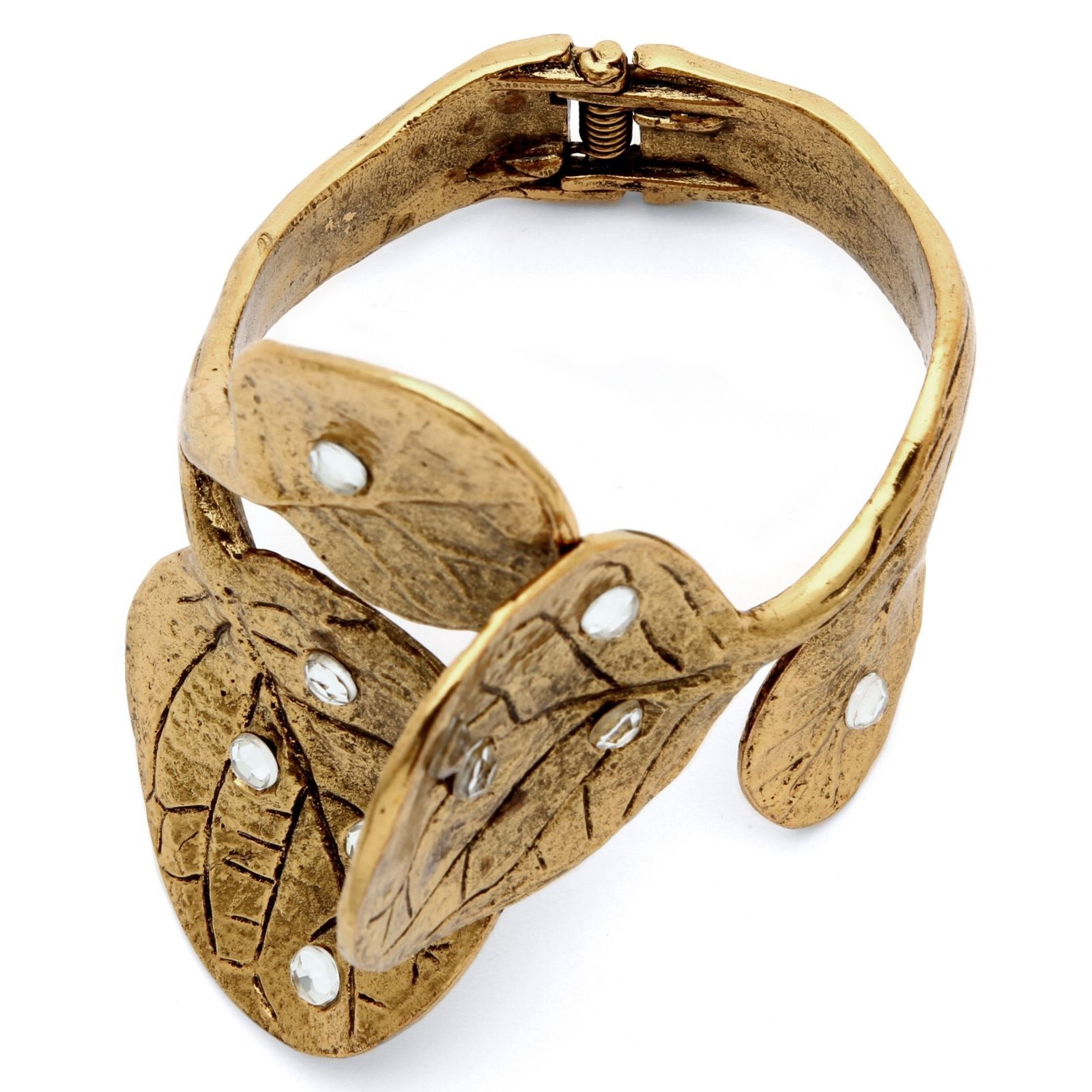 PalmBeach Jewelry Crystal 14k Yellow Gold-Plated Leaf Bangle Bracelet