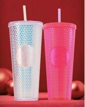 Set Starbucks Holiday 2019 Venti Studded Tumblers Cups Platinum Neon Pink 2pk - $88.11