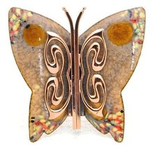 VTG MATISSE RENOIR Signed Yellow Peach Enamel Copper Butterfly Brooch Pin - $86.63