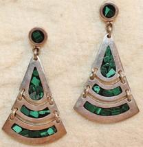 Taxco TM-235 Malachite Articulating Dangle Drop .925 Sterling Silver Ear... - $59.38