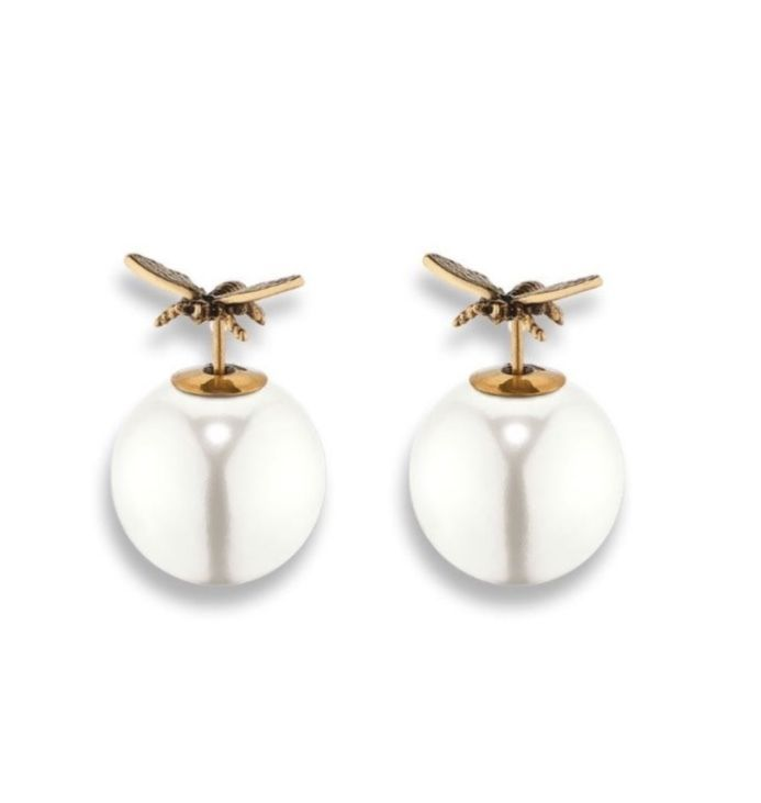 Authentic Dior Tribal Earrings 2017 Gold Tone Aged Metal Wasp Pearl