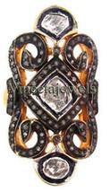 Edwardian Polki Jewelry Silver Antique Wedding Ring-Rose Cut Diamond - $311.00