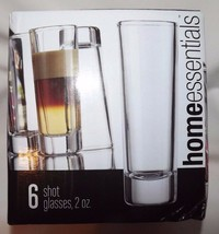 "Home Essentials Shot Glasses Set Of 6 Clear Glass 2 Oz. Size 4"" Tall New... - $10.67"