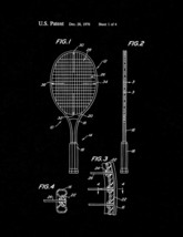 Tennis Racket Patent Print - Black Matte - $7.95+