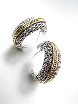 NEW CLASSIC Designer Style Balinese Silver Filigree Gold Dots Hoop Earrings - $19.99