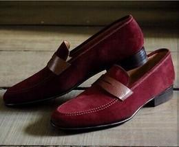 Apron Toe Maroon Tone Moccasin Loafer Slip Ons Vintage Leather Stylish Shoes image 2