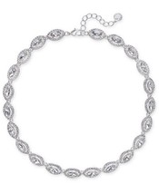 CHARTER CLUB SILVER TONE CRYSTAL LINK NECKLACE NWT - $20.47