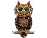 Owl Pin Brooch Gold Topaz Crystal Multicolor Perched On A Branch Bird Jewelry