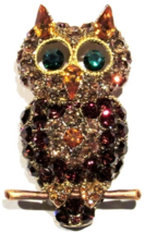 Owl Pin Brooch Gold Topaz Crystal Multicolor Perched On A Branch Bird Je... - $24.99