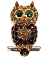 Owl Pin Brooch Gold Topaz Crystal Multicolor Perched On A Branch Bird Je... - £20.43 GBP