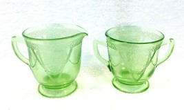 Antique Federal Georgian Lovebirds Depression Green Glass Cream and Sugar - $36.14
