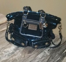 COACH Poppy Midnught Blu Sequins Handbag Tote Rare Limited Edition #15383 - $210.03