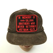 VINTAGE Vietnam Trucker Hat Corduroy Sliding Strap BROTHERS NEVER RETURN... - $121.38