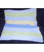 Carters Just One Year Comfy Cozy Blanket Chenille Stripe Blue Green Yellow - $34.53