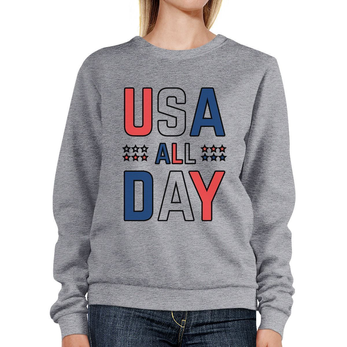 USA All Day Unique Design Graphic Sweatshirt For Independence Day - $20.99 - $21.99