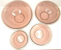 Pyrex Corning Amethyst Cranberry 4 Mixing Nesting Bowl Bake Set 322 323 325 326 - $76.10