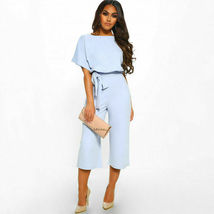 Womens Short Sleeve Jumpsuit Romper Casual Long Trousers Wide Leg Pants Blue - $42.99
