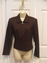 nwt Frederick's of hollywood MACHINE wash brown fitted front zipper jacket s 7/8 - $18.80