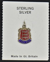 NEW 3 Lions England Royal Arms Flag Crest Shield Sterling Silver Charm Enamel - $25.16