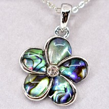 Storrs Wild Pearle Abalone Shell Forget Me Not Flower Pendant w Necklace image 2