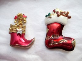 VTG Christmas Stocking Brooch Pin Gold Tone Enamel Lot Of 2 Poodle Teddy... - $14.84