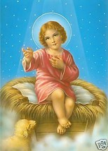 Catholic Print Picture Sweet Baby Jesus Christmas - ready to be framed - $13.09
