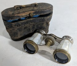GG Antique Chevalier Paris Mother of Pearl Opera Glasses Binoculars W Le... - $41.79