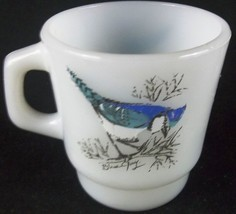 Anchor Hocking Milk Glass BLUE JAY Coffee Cup Mug Oven-Proof Bluebird - $5.87