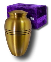 Adult Gold Colored, Brass Funeral Cremation Urn w. Box, Assorted Sizes Available image 2