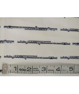 1/2 yd Music/flute flutes instruments on ivory quilt fabric -free shipping - $6.99