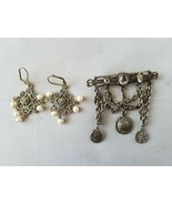 Fashion Vintage Jewelry Set Dangle Brooch Pin & Matching Earrings - $33.36