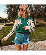 Autumn Knitted Cropped Sweater for Women Leopard Pattern Long Sleeve Kni... - $36.87+