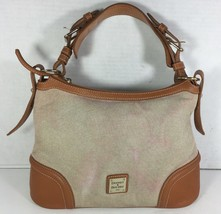 Dooney & Bourke Beige Fabric with Brown Leather Trim Shoulder Bag-WELL WORN - $38.79