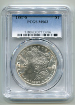 1887-S MORGAN SILVER DOLLAR PCGS MS63 NICE ORIGINAL COIN PREMIUM QUALITY PQ - $285.00
