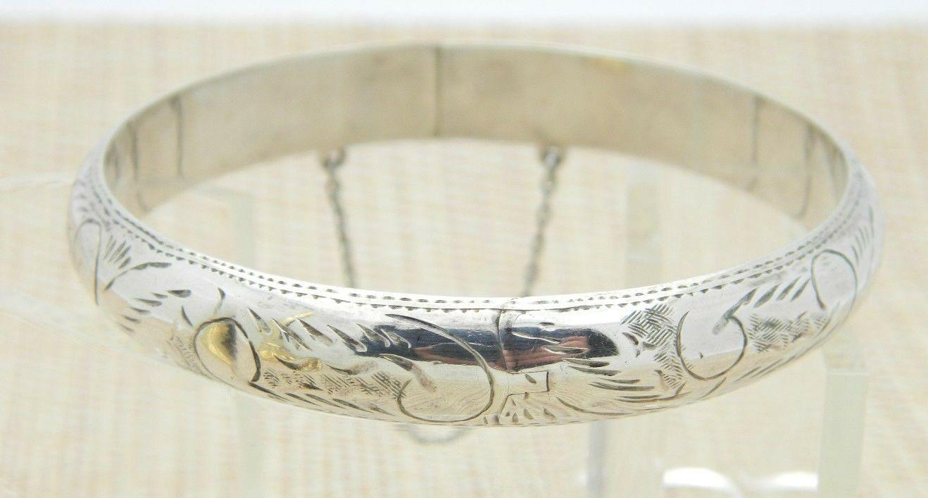 FMC .925 Sterling Silver Etched Floral Flower Bracelet 14 grams Vintage