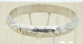 FMC .925 Sterling Silver Etched Floral Flower Bracelet 14 grams Vintage image 1