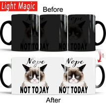 Nope,not today cat mug 350ml ceramic Color Changing Coffee Cup hot Sensi... - £16.12 GBP
