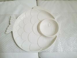 Vintage  White Royal Haeger Ceramic Vintage Fish Serving Platter WALL Ha... - $29.69